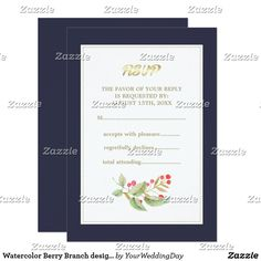 Watercolor Berry Branch design Wedding RSVP Cards Romantic Watercolor Berry Branch Painting Design Wedding Response Card | RSVP Cards. Matching Wedding Invitations, Bridal Shower Invitations, Save the Date Cards, Wedding Postage Stamps, Bridesmaid To Be Request Cards, Thank You Cards and other Wedding Stationery and Wedding Gift Products available in the Floral Design Category of our Store.