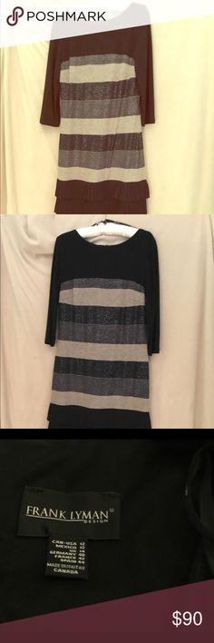 Frank Lyman dress 44243 size 12 Metallic horizontal stripes with 3 rows of ruffles at the bottom. 38.5 inches from shoulder to hem. Hand wash, hang dry. 95% polyester and 5 % elasthane. Frank Lyman Dresses Mini