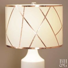 Change the entire look of a room with a blank lampshade and easy-to-apply adhesive copper tape.