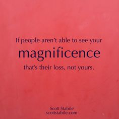 If people aren't able to see your magnificence that's their loss, not yours. - Scott Stabile