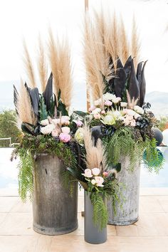 Poolside boho wedding ceremony flowers with pampas grass, proteas, peonies and spray painted foliage Andrew Clifforth Photography Wedding Ceremony Ideas, Church Wedding Flowers, Wedding Reception Decorations, Wedding Flower Arrangements, Floral Arrangements, Wedding Bouquets, Boho Wedding, Floral Wedding, Green Wedding