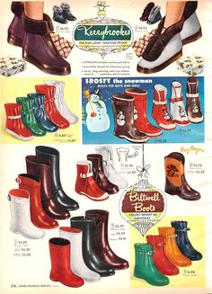 Winter Fashion Boots, Winter Boots, Winter Rain, Vintage Boots, Vintage Outfits, Vintage Clothing, 1950s Fashion, Vintage Fashion, Women's Fashion