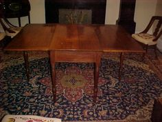 American Walnut Long Drop Leaf Table C. 1830 with provenance Table Furniture, Living Room Furniture, Drop Leaf Table, American Walnut, Dining Table, Leaves, Chair, Antiques, Wood