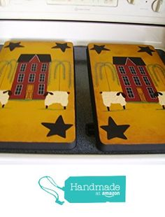 Primitive Saltbox House with Willow Trees, Stars, and Sheep Stove Burner Covers Set from Primitive Country Loft House https://www.amazon.com/dp/B019EMKXUG/ref=hnd_sw_r_pi_awdo_Furzyb8SWVTVE #handmadeatamazon