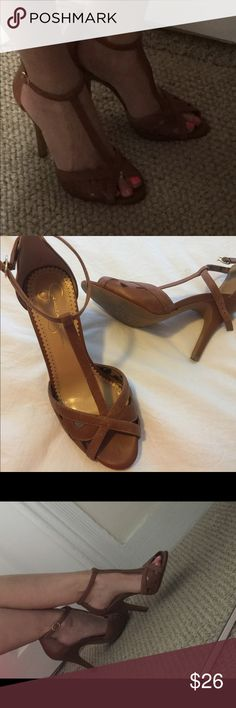 Leather High Heel Sandals Very nice condition ,Sz 8.5.Dark Tan/Lite brown leather.Bery comfy. Jessica Simpson Shoes Heels