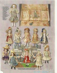 "ANTIQUE French German all bisque DOLL Wardrobe Pattern 5"" Mignonette + ARTICLE 