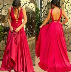 Sexy A-Line Deep V-Neck Long Prom/Evening Dress with Backless