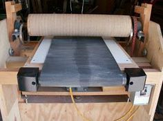 Thickness drum sander made using an old treadmill.