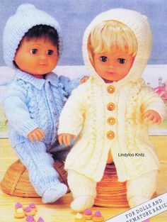 PDF Knitting Pattern  Dolls Clothes  12 inches 30 by LindylooKnitz