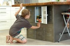 kitchen island with lockers