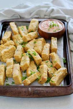Have you ever made Chickpea Fries? Also called Chickpea Panisse, these healthy oven baked fries are vegan, gluten-free, and packed with protein. A str. Vegan Appetizers, Vegan Snacks, Falafel, Chickpea Fries, Vegan Fries, Real Food Recipes, Vegetarian Recipes, Keto Recipes, Chickpea Flour Recipes