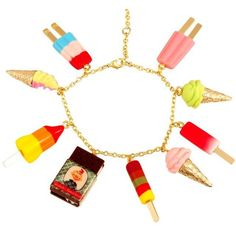 Ice Cream Charm Bracelet ❤ liked on Polyvore featuring jewelry, bracelets, cone jewelry, retro jewelry, poppy jewellery, chains jewelry and chain charm bracelet
