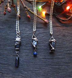 Avanturine Glass Pendant Dark Blue Glass Pendant by MaryBulanova