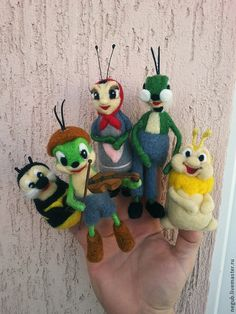 Купить Пальчиковый театр - разноцветный, пальчиковый театр, игрушка ручной работы, игрушка из шерсти