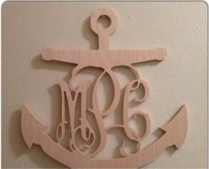 Anchor's Away Wooden Monogram!!  Perfect painted blue for a little boys room, pink for a little girls room or for a camp.  www.facebook.com/pages/Sassy-Decor-and-More-LLC/365352106761