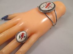 Zuni Cardinal Bird Inlay Cuff Bracelet and Ring Size 8 Sterling Silver Southwestern Vintage Jewelry Mother of Pearl Coral 30 grams