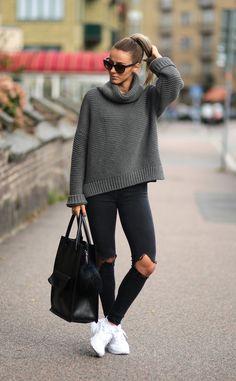 Pair simple knitwear with skinny jeans and shades this fall. Via Sklopljak.seKnitwear: Zara,Pants: Dr denim,Shoes: Nike Air Huarache.