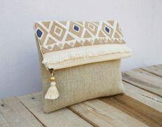 Boho pochette sac en lin couleur naturel marocaine par VLiving #bohoclutches