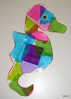 Seahorse sun catchers tissue paper, watered down glue, paintbrush, glitter, wiggly eye