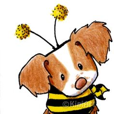 Original Art Brittany Breton Spaniel Dog Breed Bee ACEO by KiniArt, $40.00
