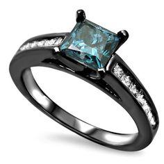 Princess Cut Blue Diamond Engagement Ring With Channel Set Princess Cut White Diamond