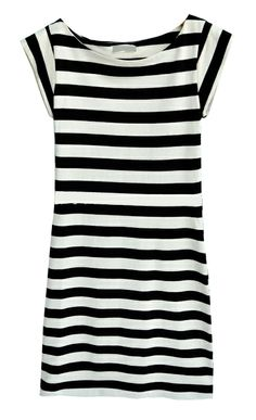Black and Beige Stripes Cap Sleeve Sheath Dress