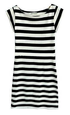 Black and Beige Stripes Cap Sleeve Sheath Dress