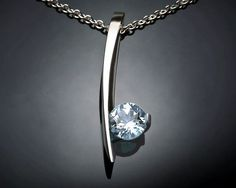 aquamarine necklace - blue - March birthstone - wedding - Argentium silver pendant - gemstone jewelry - modern jewelry - 3458