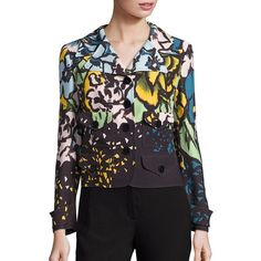 3c56087c2d7b08 Escada Floral Print Jacket featuring polyvore women s fashion clothing  outerwear jackets apparel   accessories aquarelle floral long sleeve jacket  escada ...