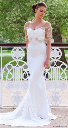 margo stankova bridal 2017 illusion long sleeves vneck beaded bodice sheath wedding dress (03) mv