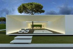 Very nice, clean and simple outdoor space. \ Catalunya Villa by JM Architecture \ Catalunya, Spain Minimal Architecture, Residential Architecture, Amazing Architecture, Contemporary Architecture, Interior Architecture, Open Space Architecture, Luxury Interior, Living Haus, Modern Villa Design