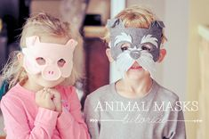 Animal Masks for Kids DIY {tutorial} w/ free mask template printable