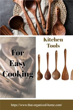 ALL YOU NEED IN ONE SET-An ideal Wooden Kitchen Utensil Set that features all the essential cooking tools including Wok Turner, Flat Spatula, Soup Ladle, Serving Spoons & Pasta Server,etc.Covers all your kitchen needs from stirring to cooking, and with hanging holes for wall storage easily. Kitchen Utensil Organization, Kitchen Utensil Set, Cooking Tools, Easy Cooking, Wooden Kitchen, Kitchen Decor, Essential Kitchen Tools, Wall Storage, Wok