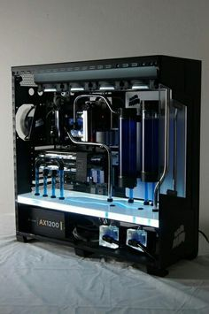 Blue black computer PC tower setup liquid cooled case