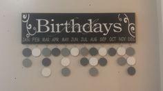 Family Birthdays, Wood Birthday Calendar (Black/White/Grey) on Etsy, $40.00