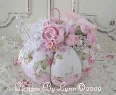 Pink Roses Shabby Romantic Pin Cushion Confection 131 Designs By Lynn-pink, roses, shabby, chic, ruffles, Victorian, Vintage, Lynn,