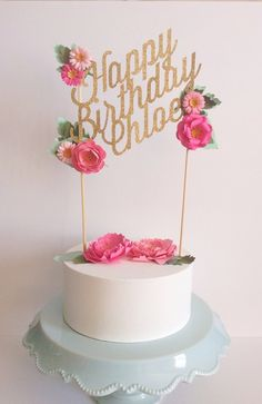 Custom wedding or birthday paper cake topper personalized with your text and colors gold glitter mint blush pink handmade flowers