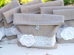 Set of 6 Natural Linen Pouches with White cotton Flower by WEcraft,