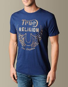 Get a truly timeless True Religion piece with the Limited Edition Logo Wings Tee in rich Indigo. A vintage washed t-shirt features a horseshoe logo...