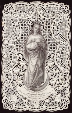 """Virgin Mary Antique Prayer Card """"This is the Queen of Heaven, the moon under her feet and on her head a crown of 12 stars"""""""