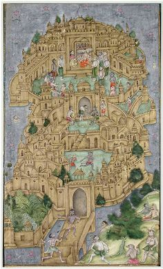 Ravana's golden citadel in (Sri) Lanka. The Ramayana ca. 1610. India