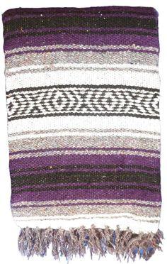 PURPLE Mexican Blanket 4' x 6' Falsa Serape Yoga Throw Baja Falza Vintage BL 30