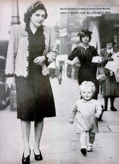 Winston Churchill II, grandson of Britain's Prime Minister Winston Churchill, returns to bomb-free London for a visit with his mother. 1942.