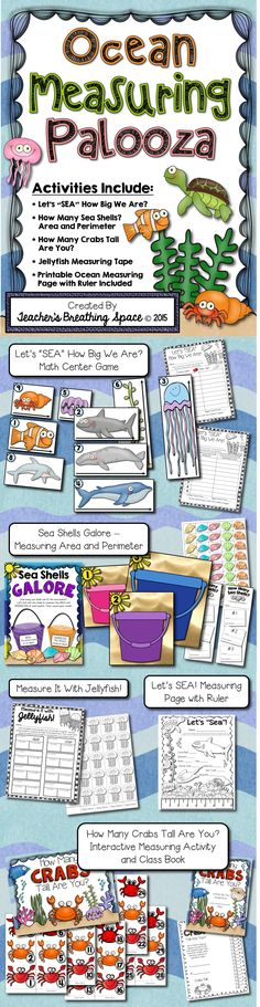 Ocean Measuring Palooza --- Five super fun, super CUTE ocean-themed measuring activities!