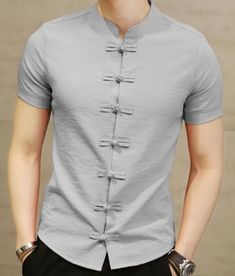 Mens Style Discover New Mens Fashion Brand Cotton Linen Short Sleeve Kung Fu Shirt Classical Chinese Tang High Quality Mens Short Sleeve Shirt Nigerian Men Fashion, Indian Men Fashion, Mens Fashion Wear, Style Streetwear, Formal Men Outfit, Mens Kurta Designs, Mens Designer Shirts, Men's Fashion Brands, Fashion Styles