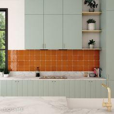 La Riviera Ginger x Wall Tile Kitchen Wall Colors, Kitchen Tiles, Kitchen Dining, Kitchen Decor, Orange Kitchen Walls, Design Kitchen, Cuisines Design, My New Room, Wall Tiles