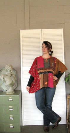 Bohemian one size plus size M L XL 1X 2X upcycled clothing Eco poncho Kaftan Funky top artsy recycled urban wrap Rustic  Shabby Cowgirl