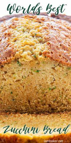 The Best Zucchini Bread is simply the best, just as the name implies. It is perfectly moist and delicious! Köstliche Desserts, Delicious Desserts, Dessert Recipes, Yummy Food, Plated Desserts, Recipes Dinner, Best Zucchini Bread, Zucchini Chips, Zucchini Boats