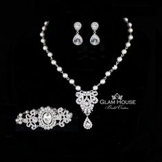 Wedding Necklace Jewelry set, Old Hollywood Glamour, Bridal earrings, Pearl Wedding jewelry set