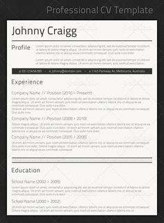 professional modern cv template for pages   awesome    pinterest    professional cv template